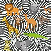 image of african animals  - Vector seamless background - JPG
