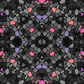 picture of kaleidoscope  - Seamless kaleidoscopic mosaic grey black tile pattern - JPG
