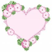 pic of geranium  - Vintage flower frame with geraniums and heart lace frame - JPG