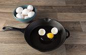 pic of yoke  - Raw eggs in frying pan with yoke showing - JPG