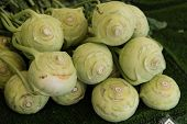 stock photo of turnips  - Loads of german cabbage turnips at the market - JPG