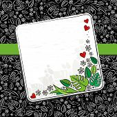 ������, ������: secret garden floral seasonal messy seamless pattern on dark with ribbon and blank note place