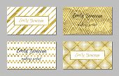 pic of chevron  - Set of gold business card template or gift cards - JPG