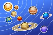 stock photo of earth mars jupiter saturn uranus  - illustration of drawed solar system with lines on blue background - JPG