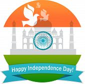 pic of indian flag  - illustration of wavy Indian flag with monument and white dove - JPG