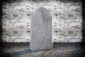 pic of empty tomb  - Closeup Blank Memorial Gravestone on grunge background - JPG