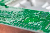 foto of transistor  - micro electronics main board with processors diodes transistors - JPG