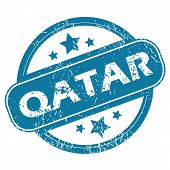 picture of qatar  - Round rubber stamp with word QATAR and stars - JPG