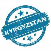 Постер, плакат: KYRGYZSTAN round stamp