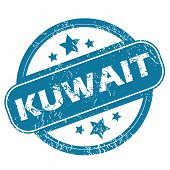 picture of kuwait  - Round rubber stamp with word KUWAIT and stars - JPG