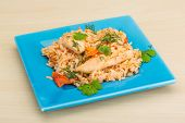 image of fried chicken  - Fried rice with chicken tomato and herbs - JPG