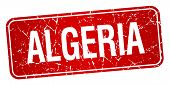 picture of algeria  - Algeria red stamp isolated on white background - JPG