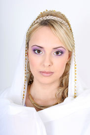 picture of yashmak  - young beautiful blonde with violet make - JPG