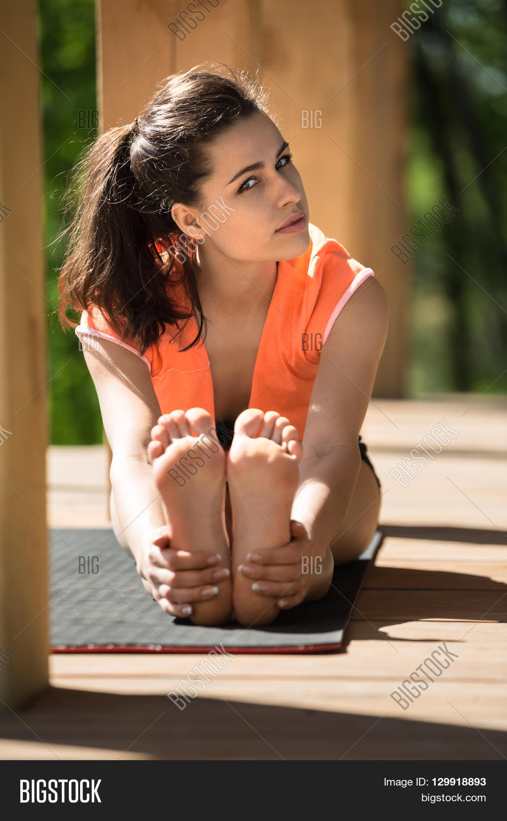 Barefoot Girl Engaged Yoga On Image Amp Photo Bigstock