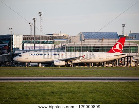 PRAGUE, CZECH REPUBLIC - CIRCA APRIL 2015: Turkish Airlines Airbus A321 taxiing at Vaclav Havel Airport Prague PRG in april 2015