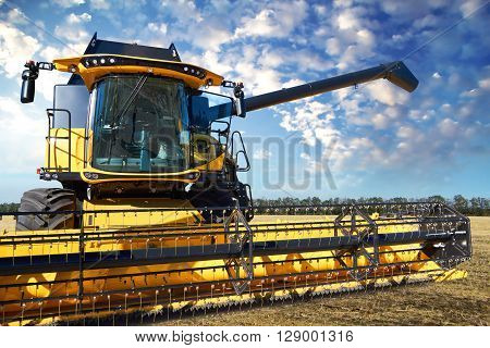 Yellow combine harvester working in a field