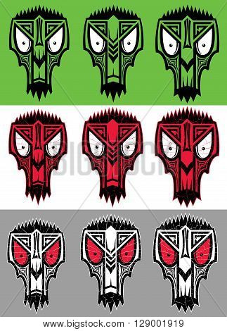 tribal scary halloween skull totem mascot vector illustration
