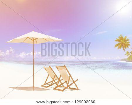 Deck chair on tropical beach.