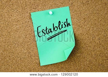 Establish Written On Green Paper Note