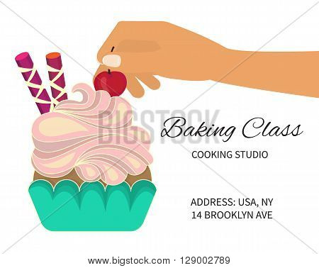Baking cooking class. Cooking studio invitation. Baking cooking course. Baking cupcakes and cakes. Vector illustration