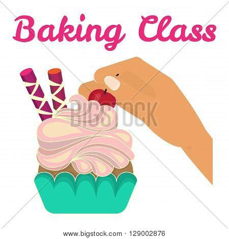 Bakery cooking class. Cooking studio invitation. Bakery cooking course. Sweet bakery. Vector illustration
