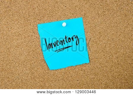 Inventory Written On Blue Paper Note
