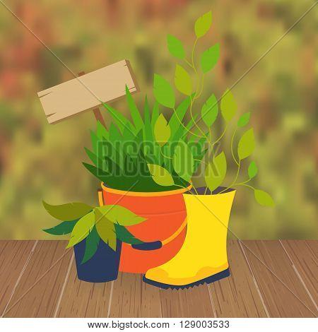 Garden flower bed and flower pots. Pot decoration. Original garden flower pot from boots and buckets. Vector garden illustration