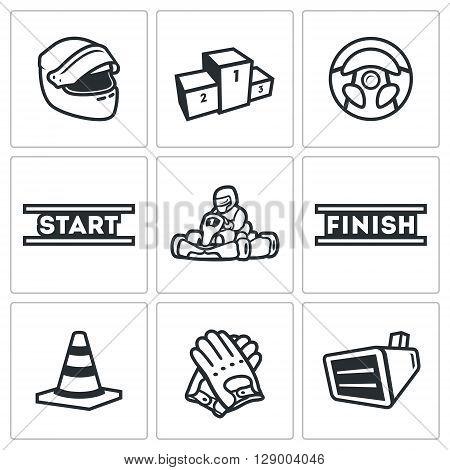 Vector Set of Karting Icons. Helmet, Pedestal, Steering wheel, Start, Kart, Driver, Finish, Delimiter, Gloves, Screen.