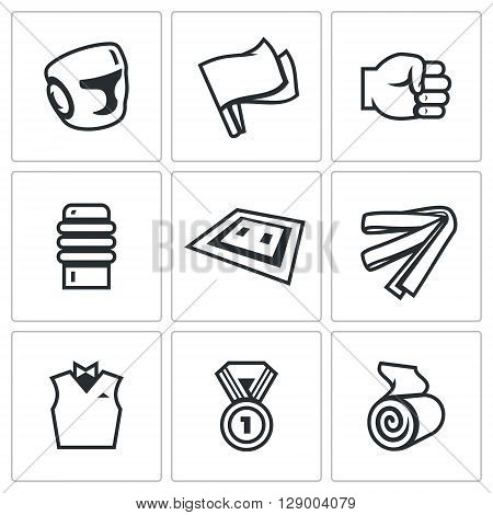 Vector Set of Karate Icons. Helmet, Flags, Fist, Makiwara, Tatami, Belt, Judge, Medal, Bandage.