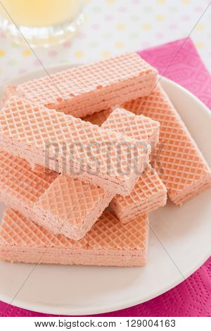 Pink wafers a cream filled wafer confection voted one of the United Kingdoms favourite tea time biscuits