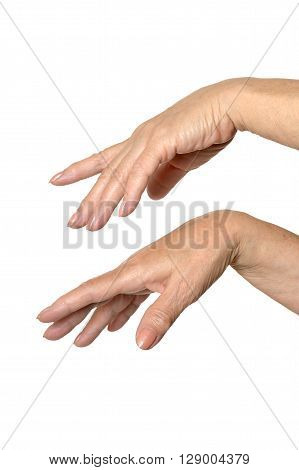 Two hands on a white isolated background