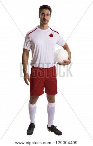Canadian futebol soccer in a white background