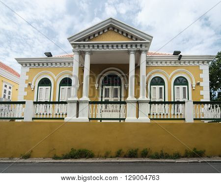 Yellow Coloured Colonial Architecture in Willemstad, Curacao, Netherlands Antilles