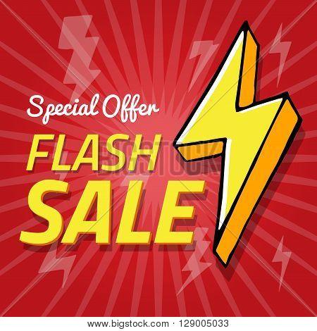 Vector background with lightning. flash sale spesial offer banner vector illustration