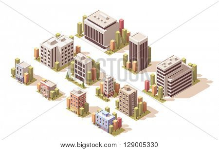 Isometric set of the different buildings