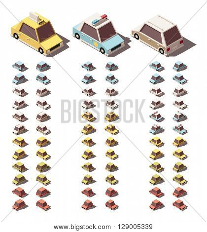 Set of the isometric cars with different views