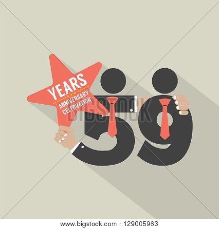 59th Years Anniversary Typography Design Vector Illustration. EPS 10