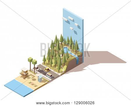 Isometric landscape with beach and mountains