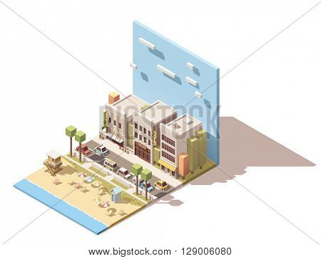 Isometric town street with beach and cars