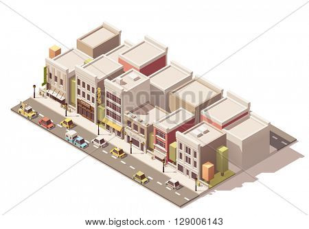 Isometric town street with different buildings