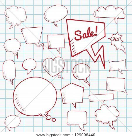 Vector set of speech bubbles. group of doodle speech buble on paper sheet