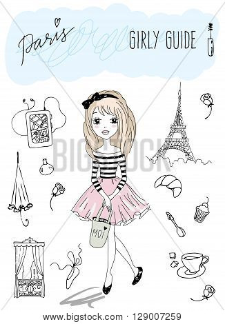 Girly travel guide of Paris. Vector illustration of a Girl in Paris