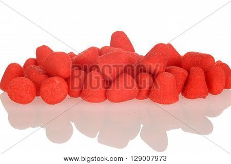 closeup of sugar coated strawberry candy with white background