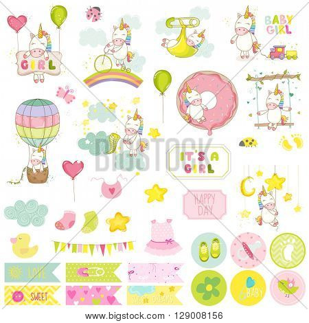 Baby Girl Unicorn Scrapbook Set. Vector Scrapbooking. Decorative Elements. Baby Tags. Baby Labels. Stickers. Notes.