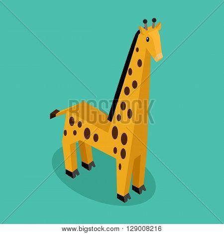 Orange 3d giraffe with brown spots. Isometric giraffe isolated. Vector illustration