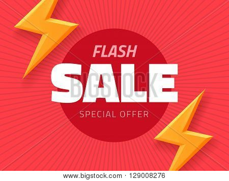 Vector flash sale design with thunder vector illustration. pink background banner with lightning for business design