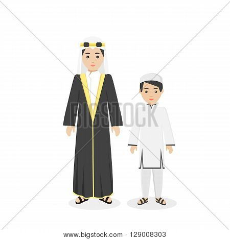 Arabian traditional clothes people. Arab traditional family muslim, arabic woman clothing, east arabian dress, ethnicity islamic face, person human mother with son isolated white. Vector illustration