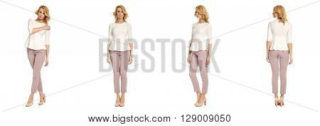 Full Length Portrait Of Beautiful Woman In Sexy Trousers