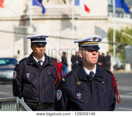 Paris; France-May 08 2016 : The French police men during commemoration for Victory Day in World War II Champs Elysees avenue Paris France.