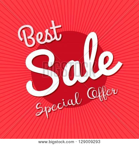 Vector red bakground with best sale special offer text. for design